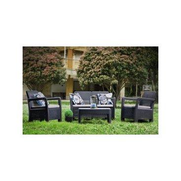 Zahrada - Zahradní sety - TARIFA lounge set hnědý + béžové podušky