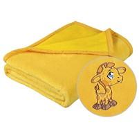 Dětská micro deka 75x100cm žlutá s výšivkou