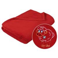 Dětská micro deka 75x100cm červená s výšivkou