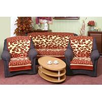 Přehoz na sedací soupravu Karmela 3+1+1 leopard terra s bordurou