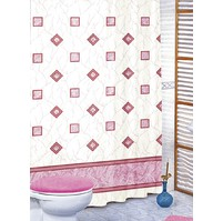Koupelnový závěs růžové čtverce