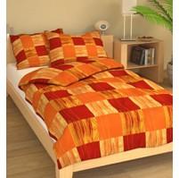 Povlečení francouzské bavlna 220x220,70x90 Čtverečky oranžové, Výběr zapínání: nitěný knoflík