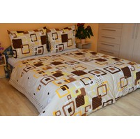Povlečení francouzské bavlna 220x220,70x90 Hlavolam béžový, Výběr zapínání: nitěný knoflík