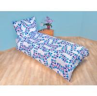 Povlečení bavlna 140x200, 70x90cm Mašle modré Skladem 3ks, Výběr zapínání: zipový uzávěr