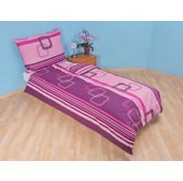 Prodloužené povlečení bavlna 140x220, 70x90cm Čtverce fialové, Výběr zapínání: hotelový uzávěr