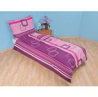 Povlečení francouzské bavlna 220x200,70x90 Čtverce fialové, Výběr zapínání: nitěný knoflík