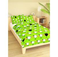 Povlečení dětské bavlna malá postýlka Ovečky zelené, Výběr zapínání: nitěný knoflík