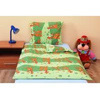 Povlečení dětské bavlna velká postel Žirafa zelená, Výběr zapínání: nitěný knoflík