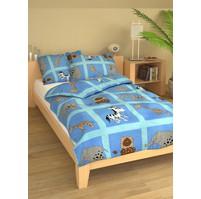 Povlečení dětské bavlna velká postel Safari modré, Výběr zapínání: nitěný knoflík