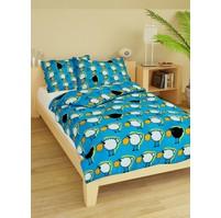 Povlečení dětské bavlna velká postel Ovečky modré, Výběr zapínání: nitěný knoflík