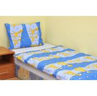 Povlečení dětské bavlna velká postel Žirafa modrá, Výběr zapínání: nitěný knoflík