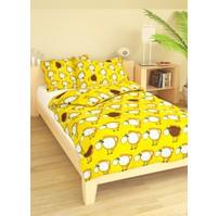 Povlečení dětské bavlna velká postel Ovečky žluté, Výběr zapínání: nitěný knoflík