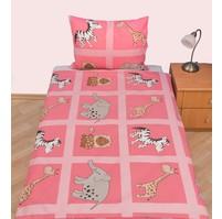 Povlečení dětské bavlna velká postel Safari růžové, Výběr zapínání: nitěný knoflík
