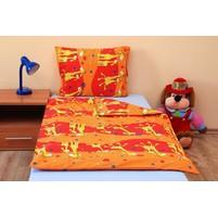 Povlečení dětské bavlna velká postel Žirafa oranžová, Výběr zapínání: nitěný knoflík