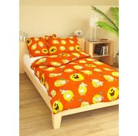 Povlečení dětské bavlna velká postel Ovečky oranžové, Výběr zapínání: nitěný knoflík