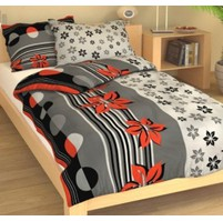 Přehoz přes postel jednolůžkový Kvítí šedočervené, Výběr rozměru: 140x220cm