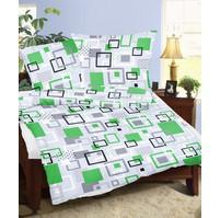 Prodloužené povlečení flanel 140x220, 70x90 Labyrint zelený, Výběr zapínání: hotelový uzávěr