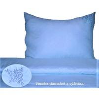 Damaškové povlečení s výšivkou 70x90, 140x200 (modré)