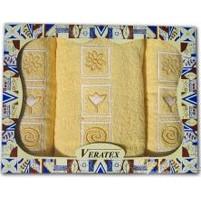Dárkově balené vyšívané ručníky s osuškou ( 4-sv.žlutá)