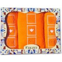 Dárkově balené vyšívané ručníky s osuškou ( 8-oranžová)