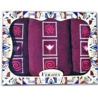 Dárkově balené vyšívané ručníky s osuškou (14-vínová)