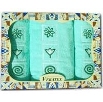 Dárkově balené vyšívané ručníky s osuškou (15-zelinkavá)