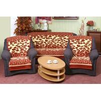 Přehoz na sedací soupravu 3+1+1 (leopard terra s bordurou 0052-940)