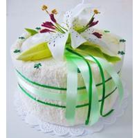 Textilní dort bílá lilie jednopatrový