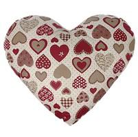 Polštářek srdce - červeno šedé