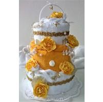 Textilní dort třípatrový (motýlci)