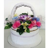 Textilní dort - květinový košík