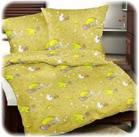 Dětské povlečení flanel měsíc žlutý 45x64 90x130 (R0612)