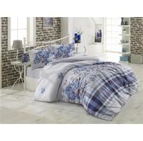 Prodloužené povlečení bavlna 140x220, 70x90cm Evelina modrá, Výběr zapínání: zipový uzávěr