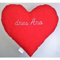 Červené srdce s výšivkou - dnes Ano/dnes Ne