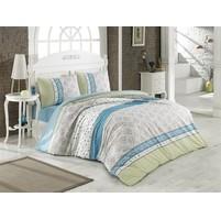 Povlečení francouzské bavlna 200x200,70x90 Mija modrá, Výběr zapínání: nitěný knoflík