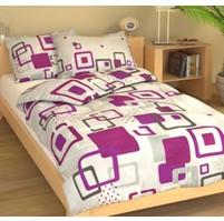 Povlečení francouzské bavlna 220x220,70x90 Hlavolam fialový, Výběr zapínání: nitěný knoflík