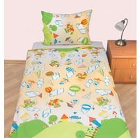 Povlečení dětské krep velká postel Letadýlko béžové, Výběr zapínání: nitěný knoflík