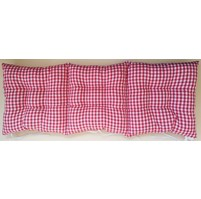 Sedák na lavici prošívaný 140 x 40 x 7,5cm kanafas červené srdíčko