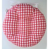 Sedák prošívaný kulatý průměr 40 cm kanafas červené srdíčko