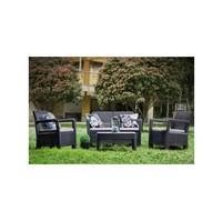 Zahradní sety - TARIFA lounge set hnědý + béžové podušky