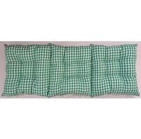 Sedák na lavici prošívaný 150 x 40 x 7,5cm kanafas zelené srdíčko