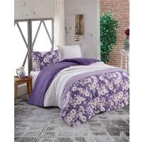 Prodloužené povlečení bavlna 140x220, 70x90cm Dona purple, Výběr zapínání: hotelový uzávěr