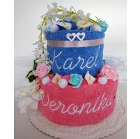 Veratex Textilní dort s vyšitými jmény novomanželů výběr ze 22 barev osušek