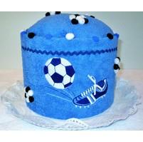 Veratex Textilní dort středně modrý s výšivkou kopačky a míče (21 barev)