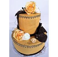 Veratex Luxusní textilní dort dvoupatrový marcipán (zlatý)