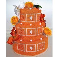 Veratex Textilní dort třípatrový vyšívaný (rezavý)