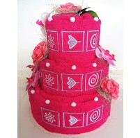 Veratex Textilní dort třípatrový vyšívaný (purpurový)