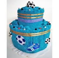 Fotbalový textilní dort dvoupatrový vyšitá kopačka s míčem (možnost vyšít jméno/přezdívku doplatek 75kč) 21 barev