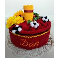Veratex Textilní dort svícen se jménem (1ks osuška 1ks ručník) výběr z 22 barev