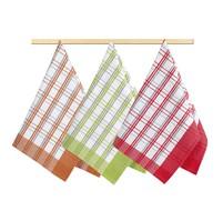 Kuchyňská utěrka 50x70cm oranžová,červená, zelená kostka